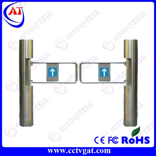Stainless steel manual bi-directional mechanical supermarket security barrier automatic swing turnstiles control access 2 door