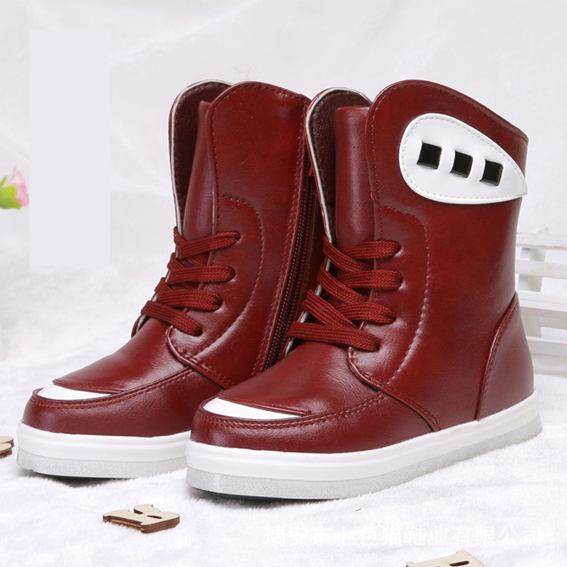 Autumn Winter Fashion Design Genuine Leather Children Lace up High Boots Kids Girls High Quality Cow