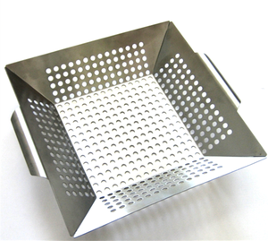 Rectangle high quality stainless steel perforated vegetable grill basket