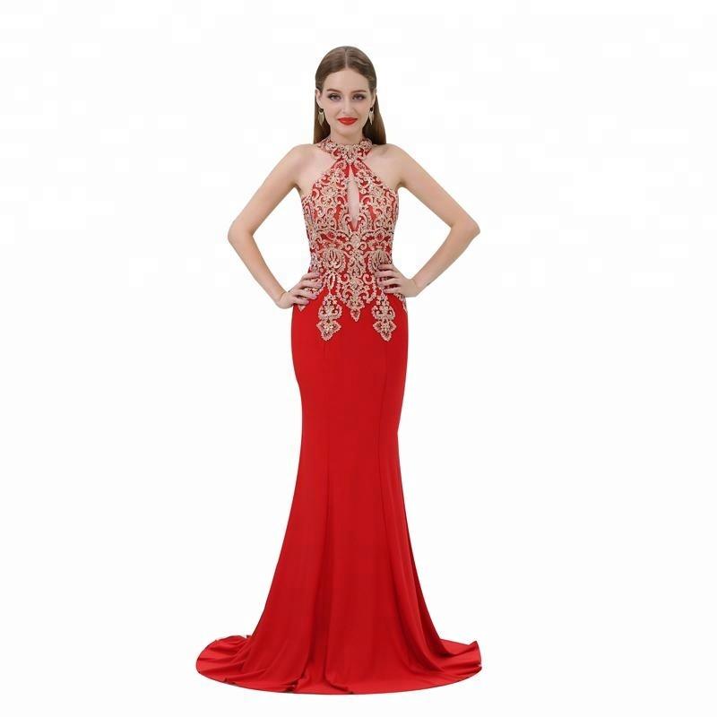 6af43c7f461 Sexy Halter Design Red Evening Dress Beaded Mermaid Long Prom Dresses 2018