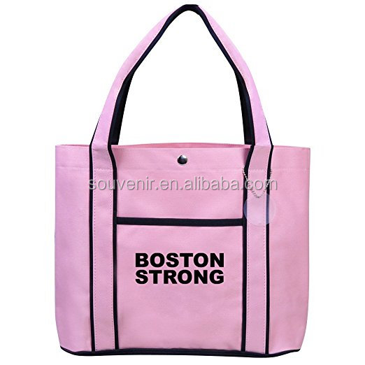 Fashion Canvas Pink Tote Bag Shopping Beach handbag Boston