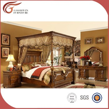 Luxury Royal Solid Wood Bedroom Furniture Set King Canopy Sets A10