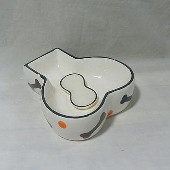 Cute wholesale ceramic bone shaped dog bowl