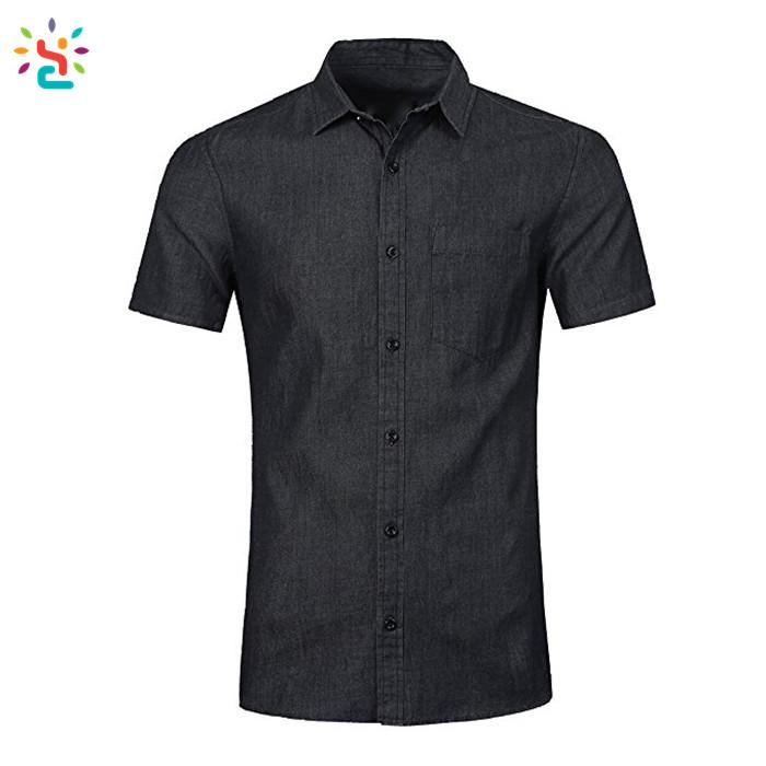 d4c0bd575f Wholesale mens denim shirt short sleeve solid color denim shirt men blue  plain slim fit t