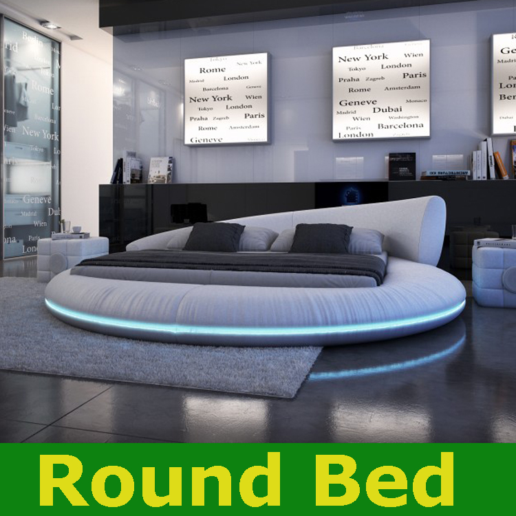 Modern Round bed led light bed bedroom furniture circular beds frame
