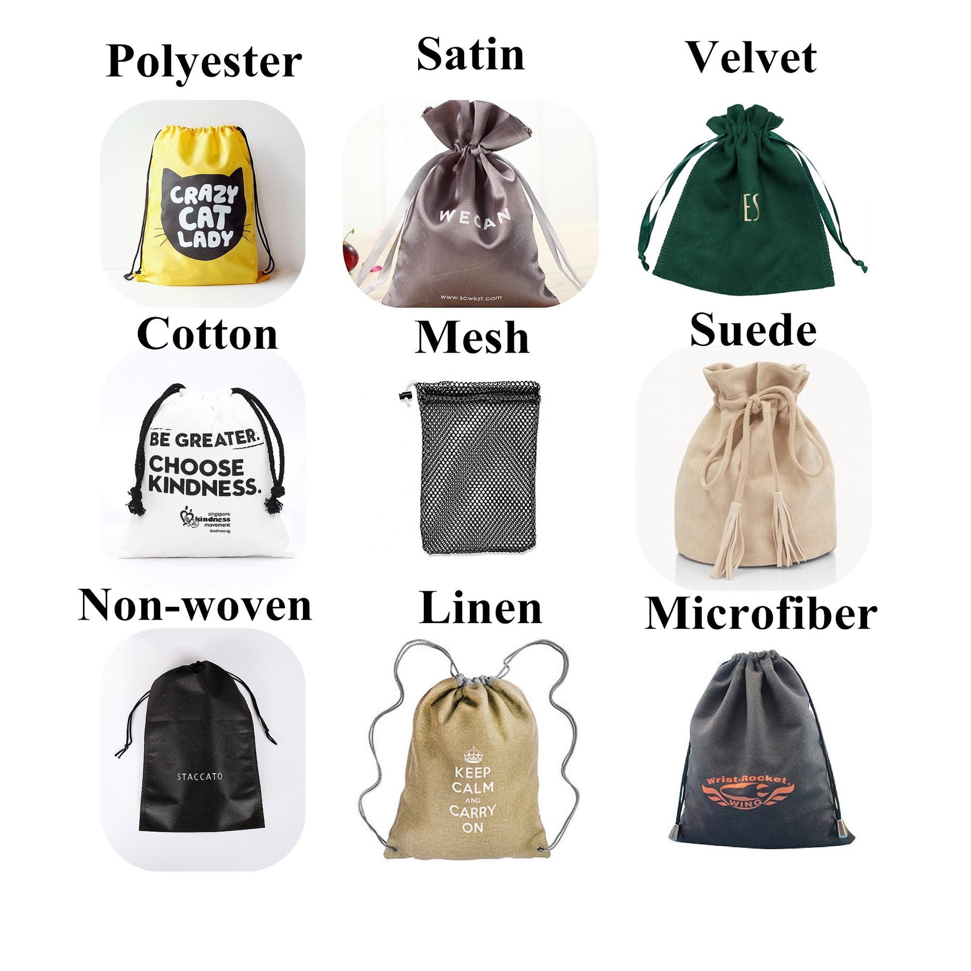 고품질 사용자 정의 로고 면화 먼지 가방 로프 모자 의류 헤어 핸드백 선물 쇼핑 포장 Drawstring 파우치
