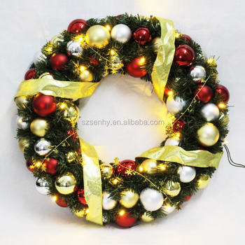 new model decorating christmas ball wreath with led lights - Christmas Ball Wreath