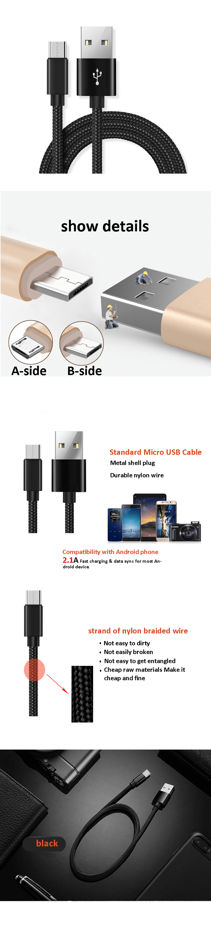 High Quality 1M 2A Usb Data Cable For Xiaomi, Wholesale Android Mobile Phone Micro Usb Cable For Samsung