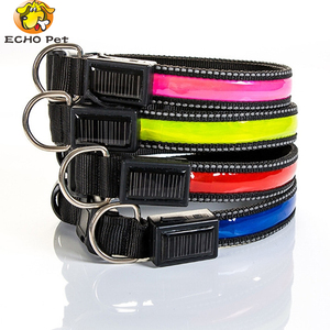 Factory Price Cheap Price USB Rechargeable and Solar Nylon flashing super bright polyest tube led dog collar