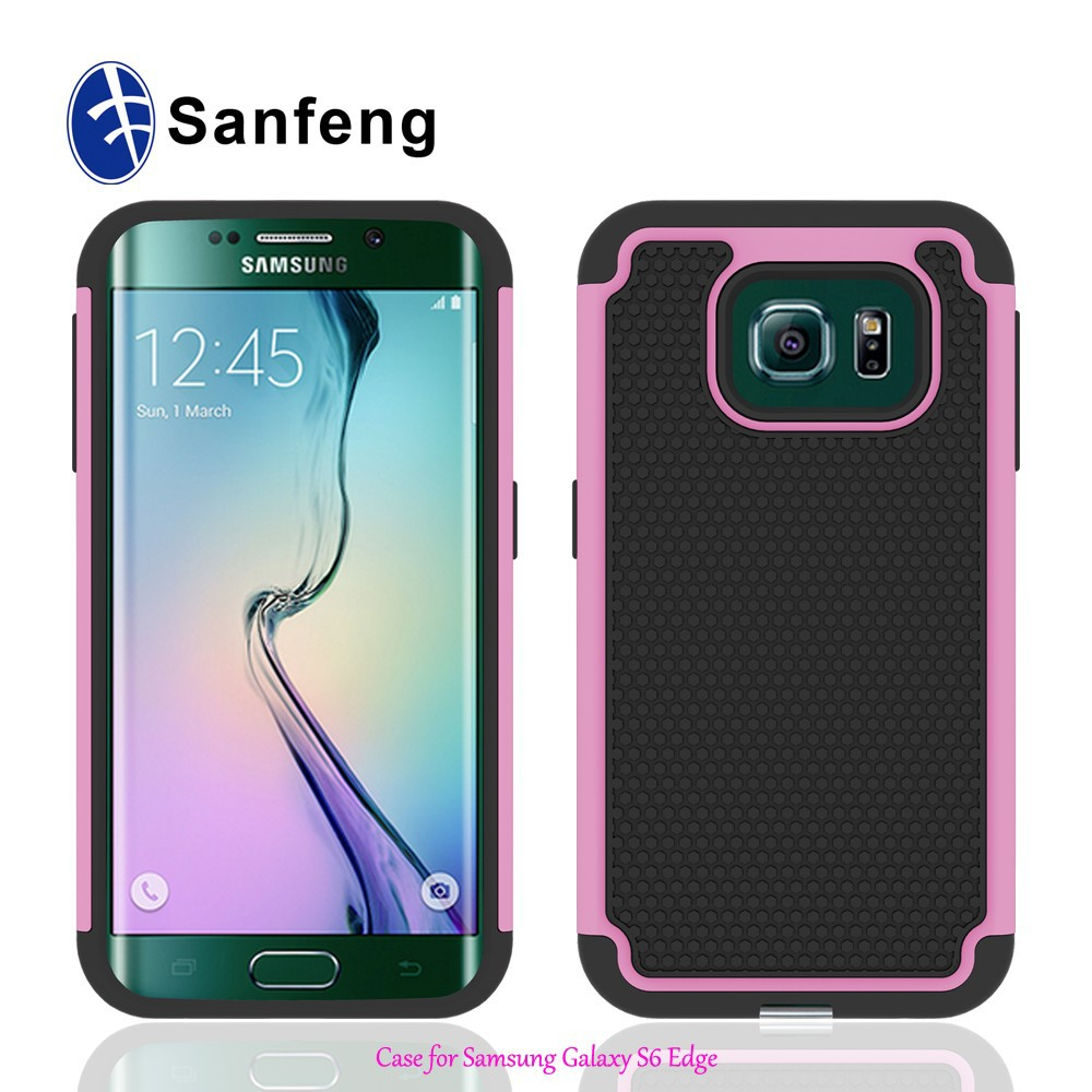 For Samsung Galaxy S6 Edge Rubber+Plastic Phone Case Cover