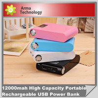 new 2015 12000mAh LCD External Power Bank Dual USB with a USB cable Battery Charger for iPhone PSP for HTC