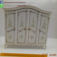 1:12 Scale Dollhosue Furniture Wardrobe Wooden Miniature Craft Supplies