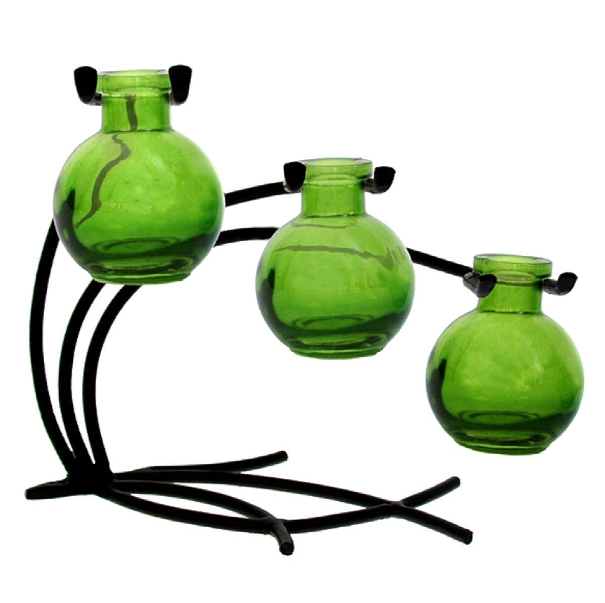 Plant Starter Vase Bud or Rooting 3 Vase Set with Stand Bud G113 Aqua Vase ~ Use as Flower Home Chic Colored Glass Floral Colorful Gift Box Included