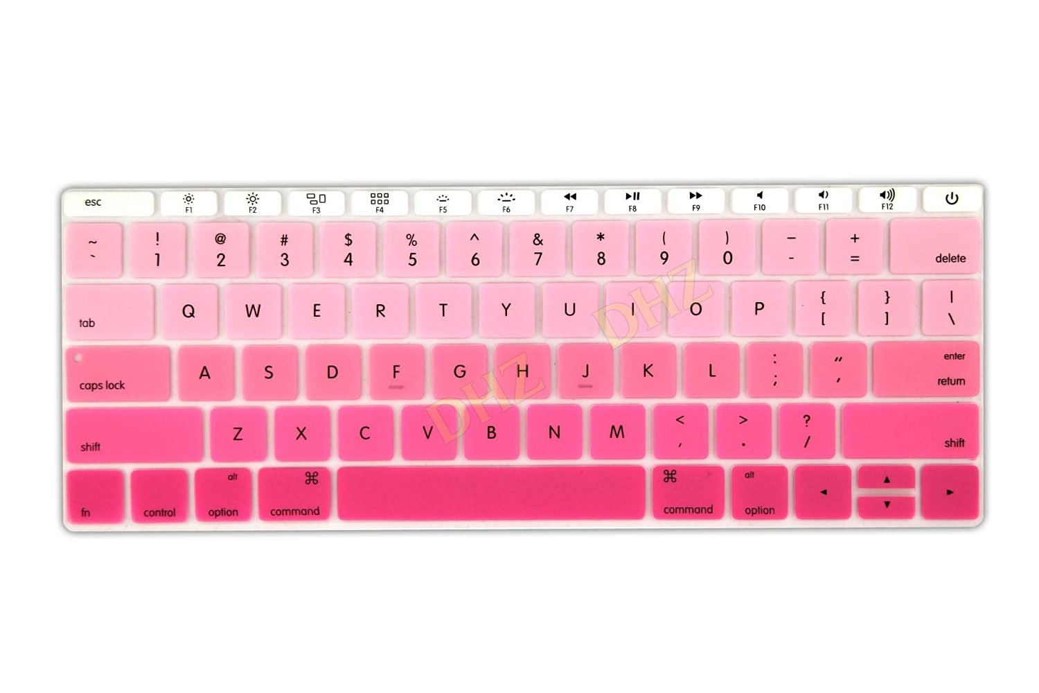 "DHZ Hot Pink Gradient Keyboard Cover Silicone Skin for New Macbook 12"" with Retina Display (2015 Model A1534) and New MacBook Pro 13 Inch (2016 Newest Version Model A1708, No Touch Bar)"
