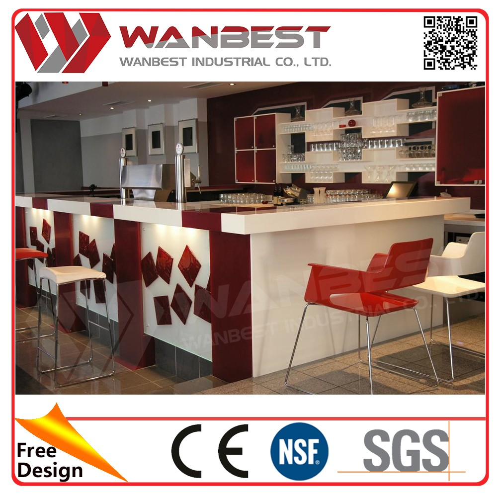 2017 modern solid surface bar counter design marble countertop