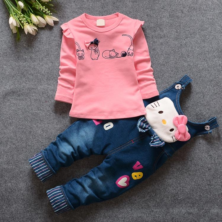2016 New Hot Spring Baby Clothing Set Children Denim overalls jeans pants Blouse Full Sleeve Cool