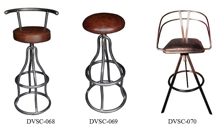 Vintage French Tufted Leather Bar Stools