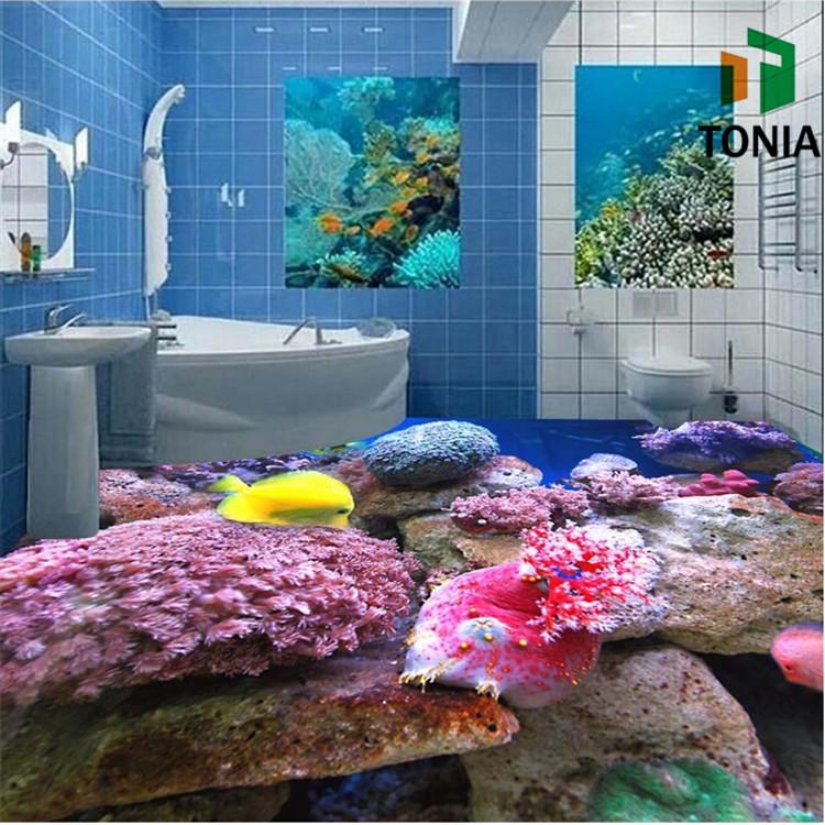 Blue Bathroom Wall Tiles Modern 3D Wall Tiles Commercial Bathroom Floor  Tiles