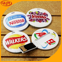 customized OEM LOGO bulk round card usb/mini card usb flash drive/circle card usb flash drive