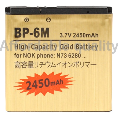 2450 мАч BP-6M высокой емкости золотая бизнес для Nokia N73 / N93