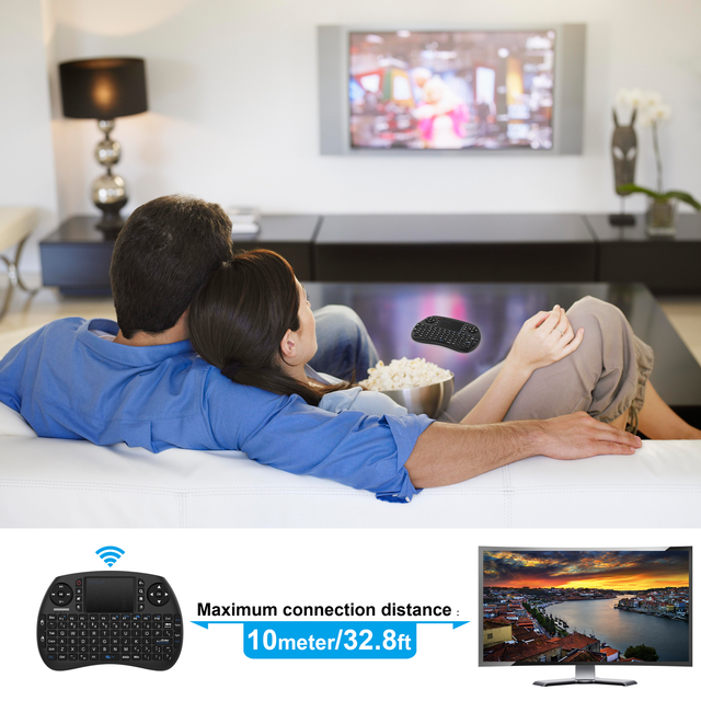 New Product Abs Plastic Black Wireless Mini Keyboard And Mouse Combo For Living Room