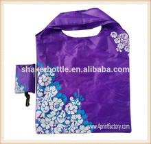 Eco-friendly OEM Polyster Nylon Material Foldable Tote Shopping Bag With Custom Logo Printing