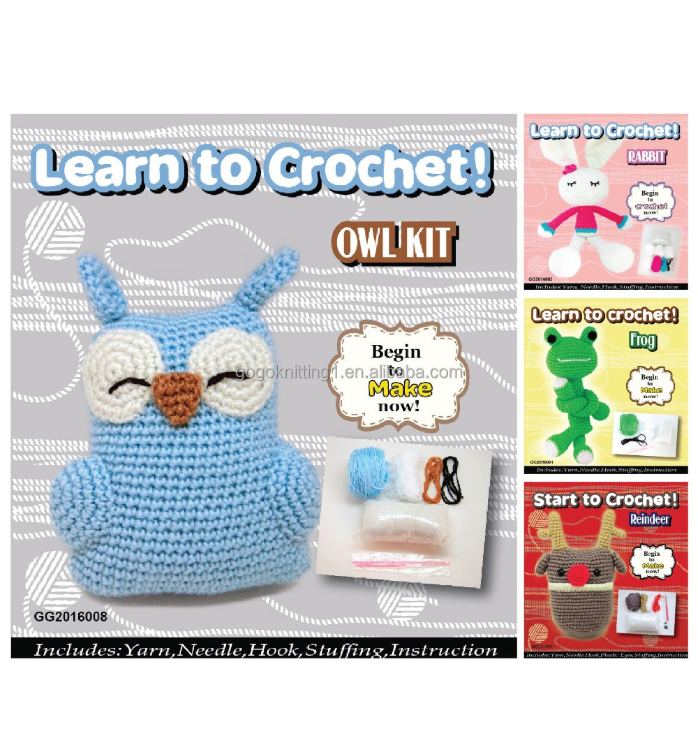 lovely wool owl crochet diy kit, kids diy kits