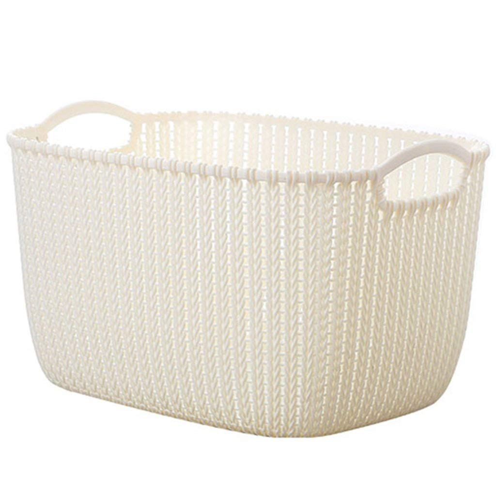 ZhaoLiRuShop Laundry Baskets Laundry Storage Laundry basket storage box drying basket Imitation rattan plastic toy clothing finishing laundry basket bathroom hollow storage box