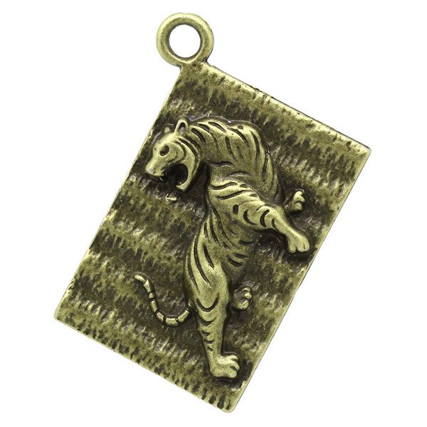 Charm Pendants Rectangle Antique Bronze Tiger Pattern Carved 3.9cm x 2.9cm