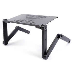 Portable Adjustable Aluminum Ergonomic Folding Stand Laptop Table for Desk , Bed Tray Cooling Pad