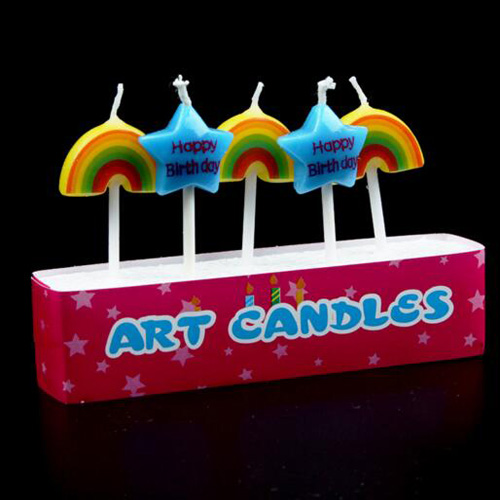 Rainbow star 5PCS fondant cake decorating birthday party candles