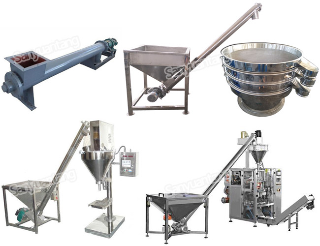 stainless steel conveyor screw auger with hopper for food powder