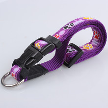 Wholesale Custom Nylon Srtap with Woven Ribbon Unique Dog Collars