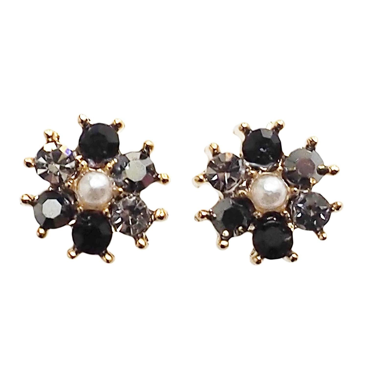 Miyabi Grace Women's Black Flower Minimalist Rhinestone Crystal Invisible Clip On Stud Earrings Gold tone