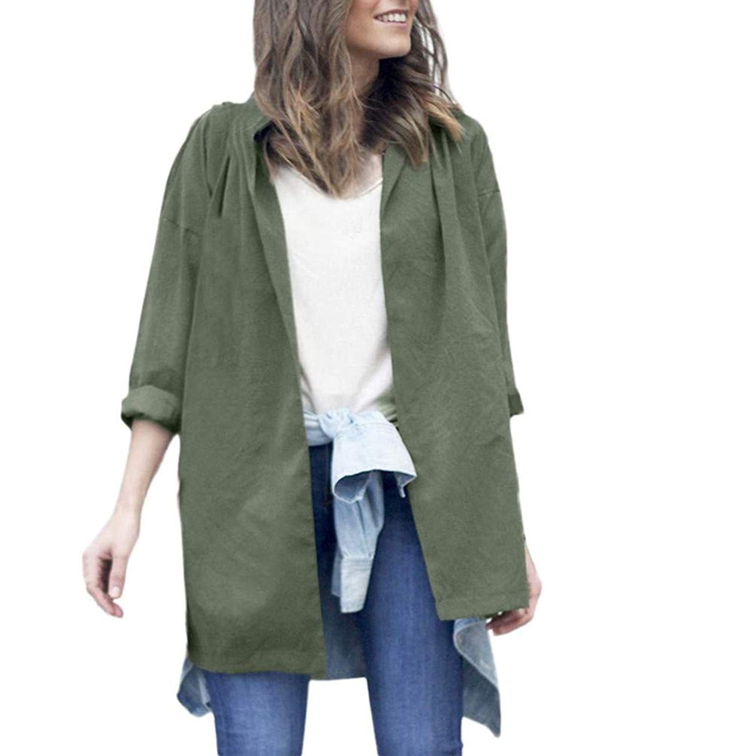 Sikye Women Coat&Jacket,Solid Casual Long Sleeve Jacket Windbreaker Parka Cardigan Thin Belt Coat