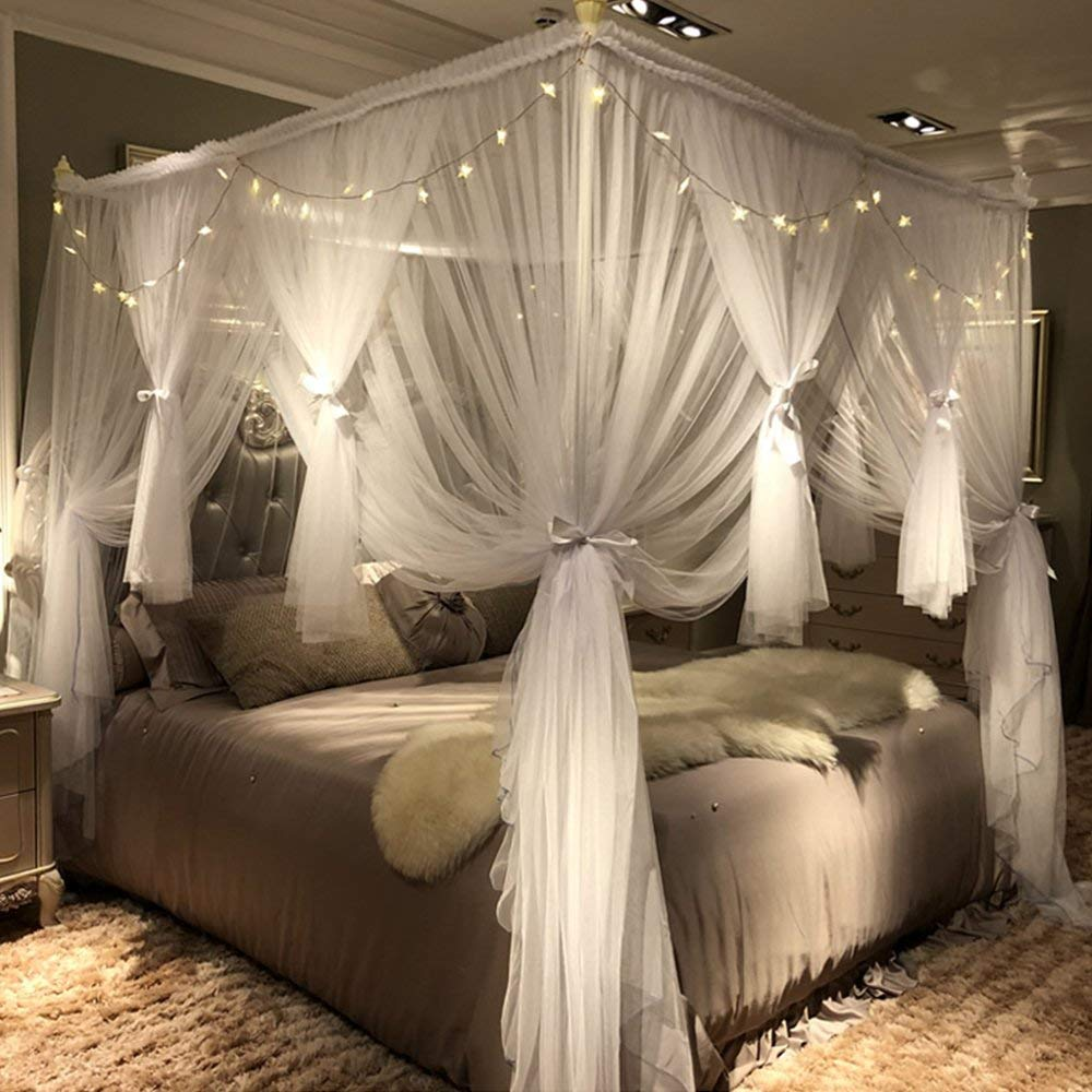b84a69da54efa Get Quotations · Joyreap Mosquito Bed Canopy Net - Luxury Canopy netting - 4  Corners Post Bed Canopies -
