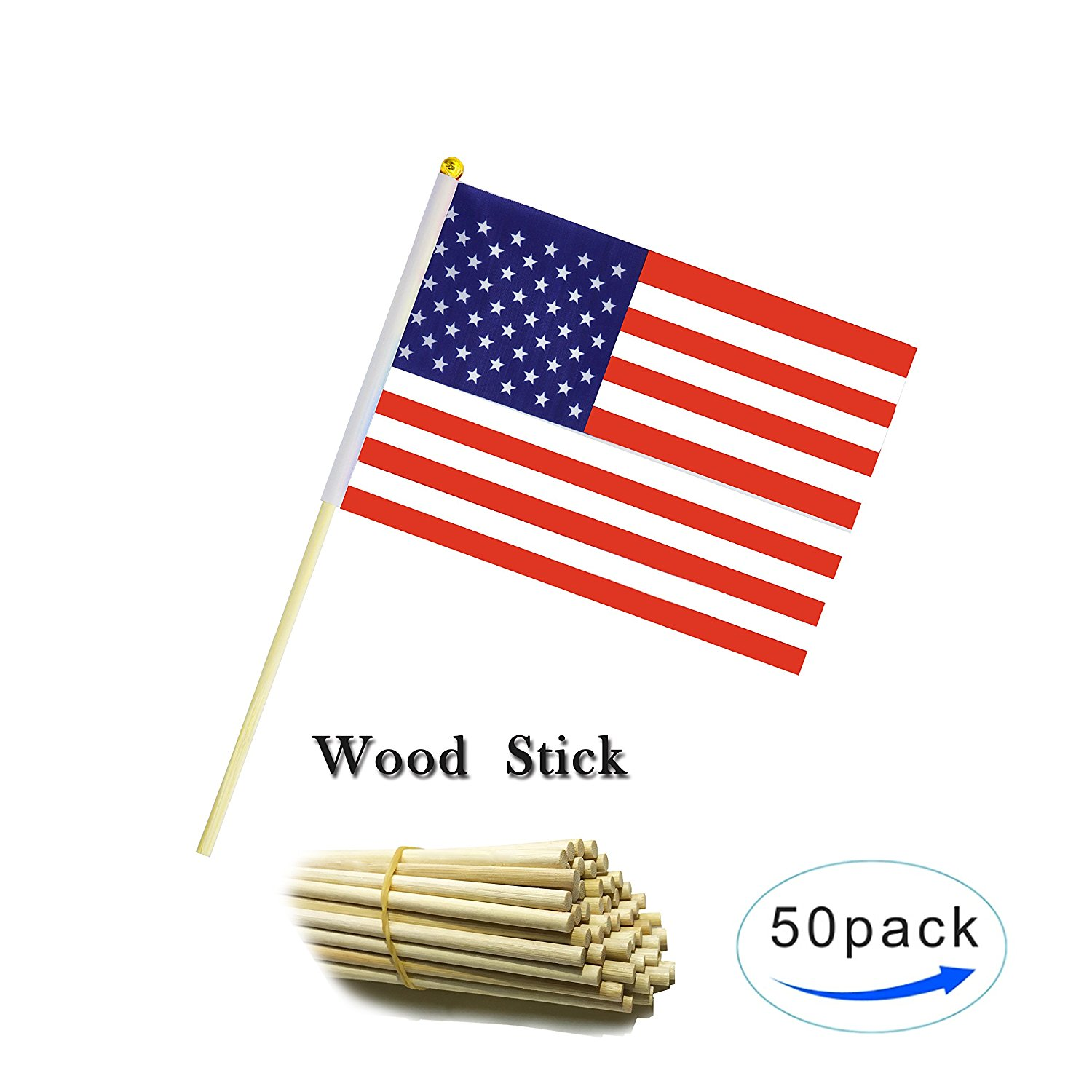 6500e0f5e752 Get Quotations · American Flag USA US Flag Wood Stick Small Mini Flag 50  Pack Hand Held US American
