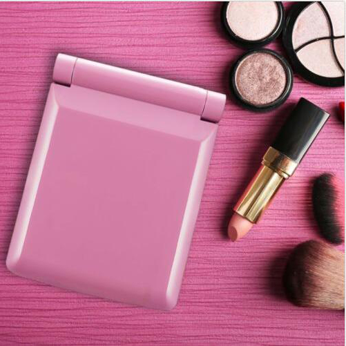 8 LED Makeup Travel Mirrors Mini Portable Folding Compact Hand Cosmetic Make Up Pocket Mirror With 8 LED Light for Women