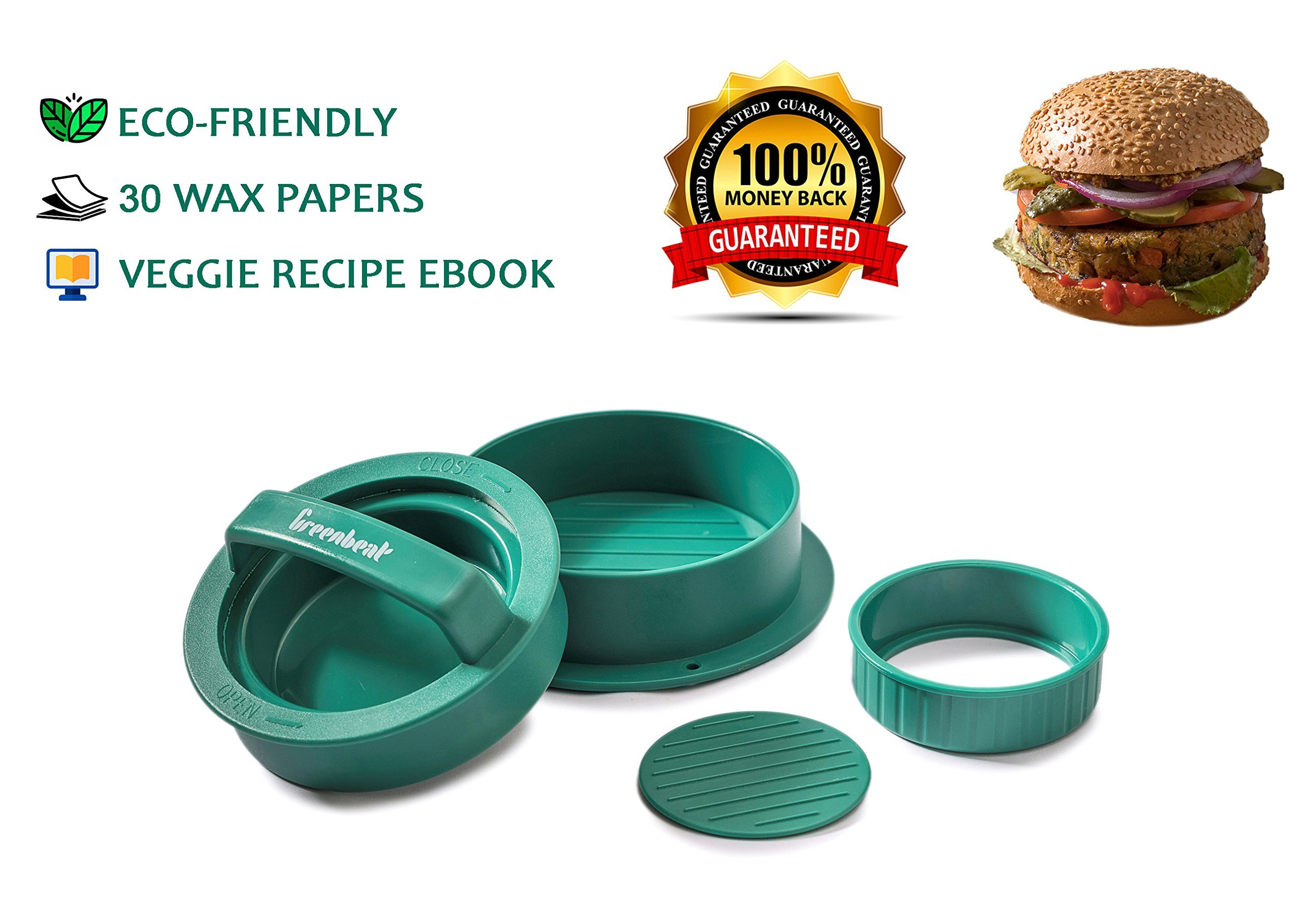 GreenBeat Stuffed Burger Press | 15 Vegetarian Recipes eBook | 30 Wax Papers - Hamburger Grill Accessories
