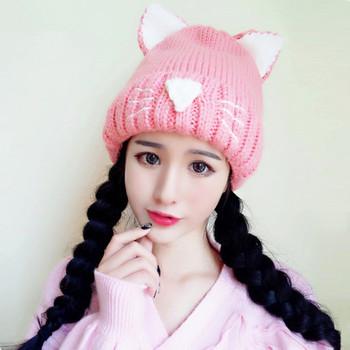 хит продаж вязаный акрил сладкие коты шапки с ушками Buy шерстяная