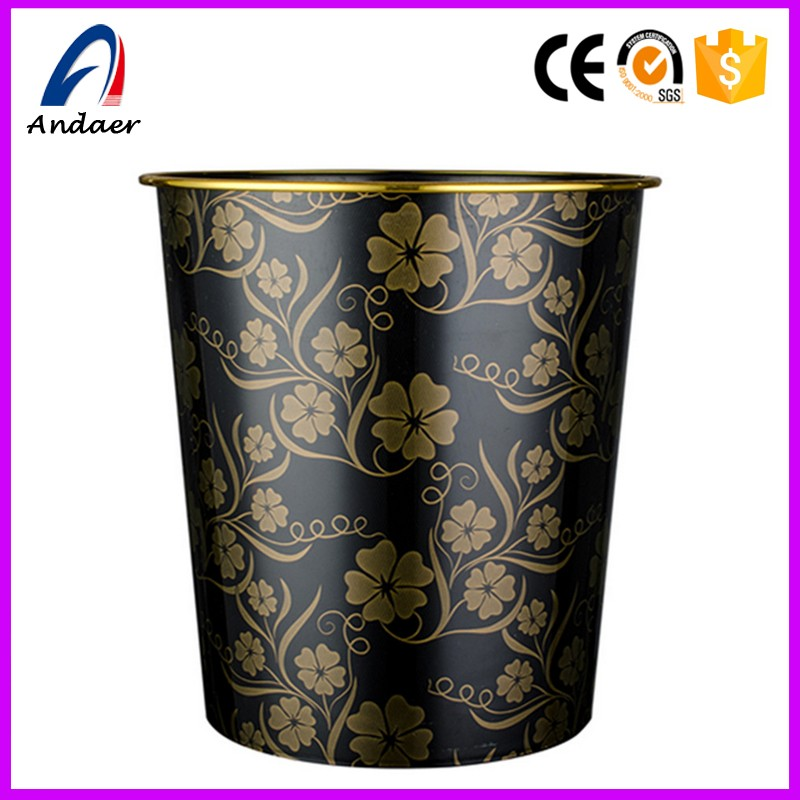 painted hotel wastebasket with pattern,elaborate household trash cans