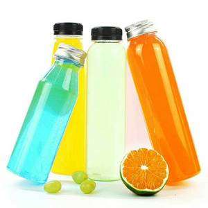 Disposable Clear PET plastic juice bottle with screw cap