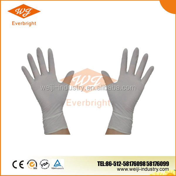 Latex surgical gloves powdered used in light industry/agricultal approved CE/ISO