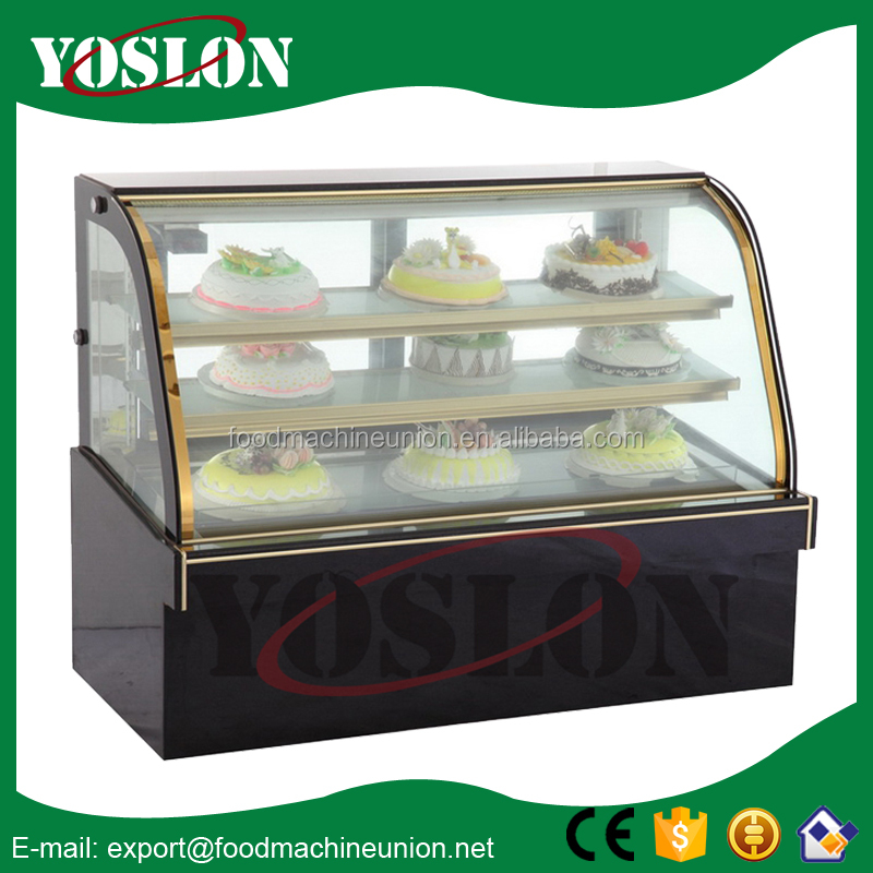 lluxury double arc cake display fridge/bakery showcase manufacturer