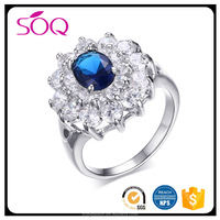 New Beautiful Flower Shaped Design Cubic Zircon Sapphire blue flower Engagement Ring