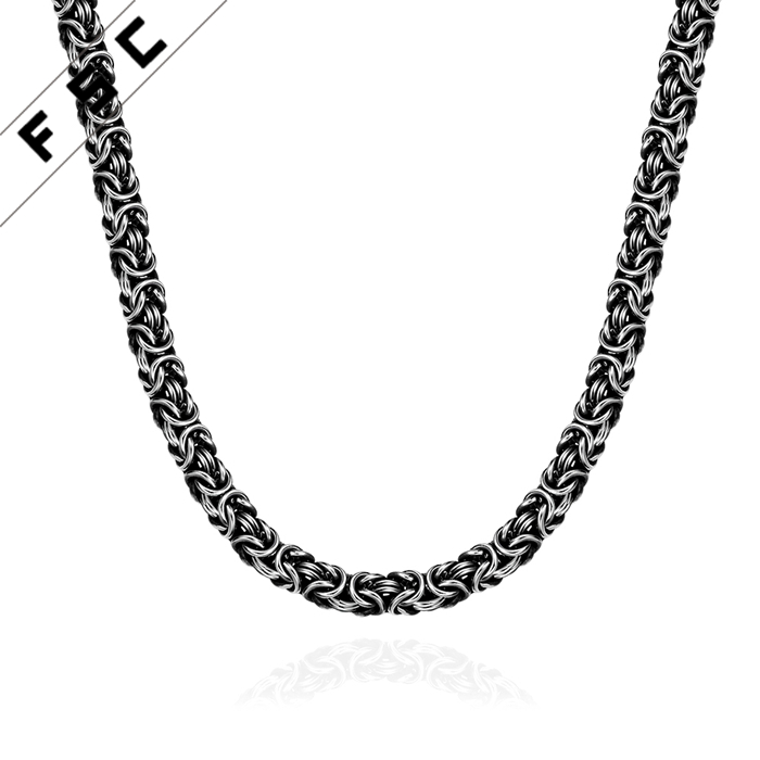 Top selling punk style geometrical shape leading chain popular stainless steel necklace for man