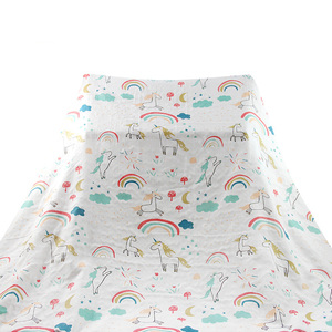 Unisex custom print organic cotton newborn receiving muslin baby swaddle blanket