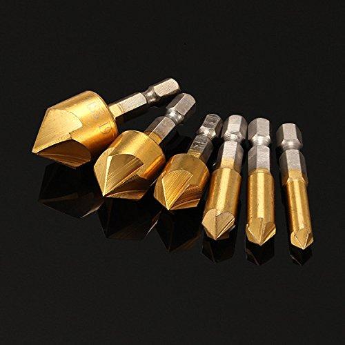 CynKen 6pcs 5 Flutes 1/4 Inch Hex Shank Countersink Drill Bit Set 6/8/9/12/16/19mm Titanium Coated Chamfer