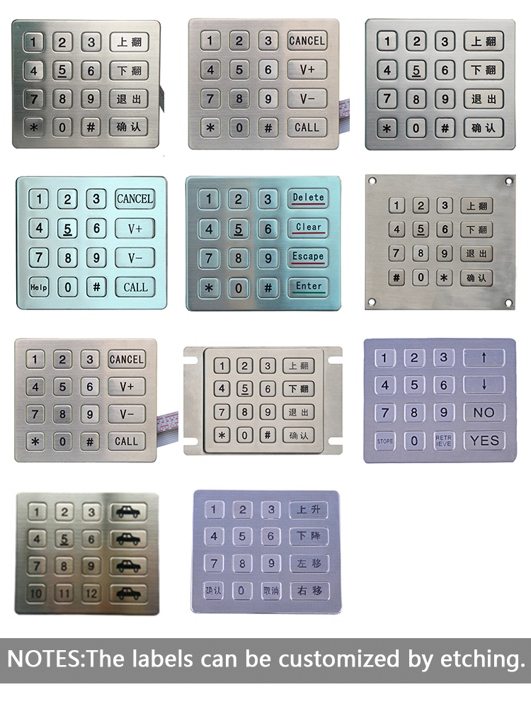 ip 65 keypad matrix 4*4 16 keys stainless steel keypad applied in self service terminal switches keypad