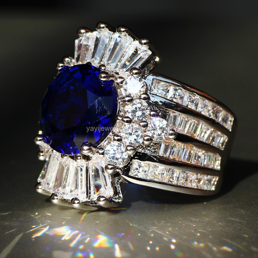 Fashion 925 Silver Natural Gemstones Sapphire Wedding Birthstone Bride Engagement Multilevel Set Ring Jewelry Size 678910